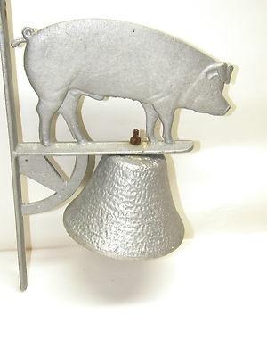Vintage PRIMITIVE CAST IRON PIG DINNER BELL Decorative Metal Decor Unique Bells
