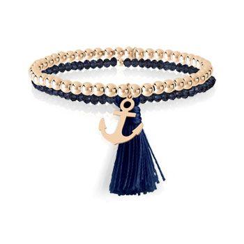 BRACELET boules double rang élastique en argent 925 rosé et cristal bleu avec deux pampilles ancre et pompon. Pour poignet 17,5 cm.