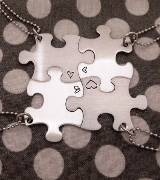 Stainless steel puzzle piece hand stamped with hearts set of 4 necklaces 42$