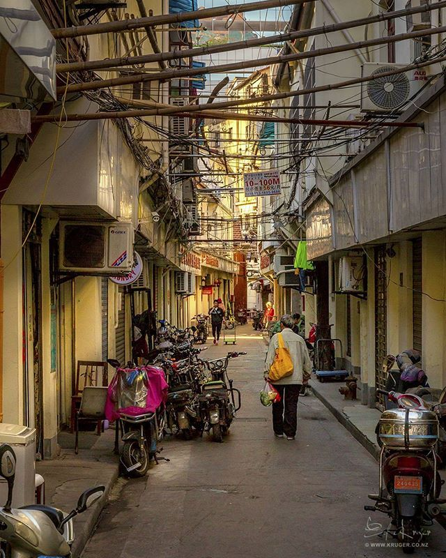 Early morning in alleyways of Shanghai China