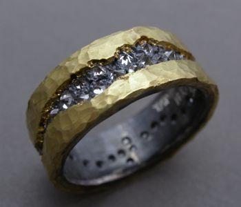 Artist Todd Pownell 18k gold, oxidized sterling silver, 40 inverse set diamonds