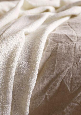 Close-up of IKEA linen duvet cover