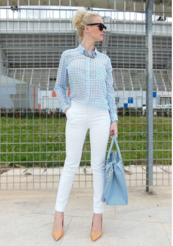 Powder Blue: Be Pretty blogger is wearing a Stradivarius blouse, Zara pants, Zara heels, H&M bag and Ray-Ban sunglasses.