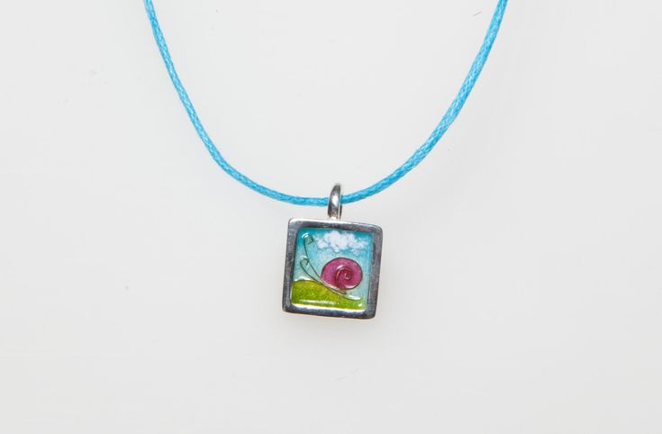 New to Giampouras on Etsy: Jewelry for girls Sterling Silver Pendant Cloisonne Pendant - Snail in The Sun Square Pendnat Giampouras Collections (52.30 EUR)