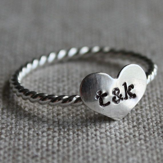 true love ring - sterling silver and stamped with your initials.: Initials Rings, Rings Sterling, Love Rings, Heart Rings, True Love, Sterling Silver, Couple Initials, Stamps Rings, Rights Hands Rings