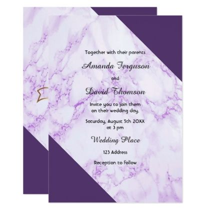 Ultra Violet Marble Wedding Invitation Card Gifts Style Stylish Nature Unique Personalize
