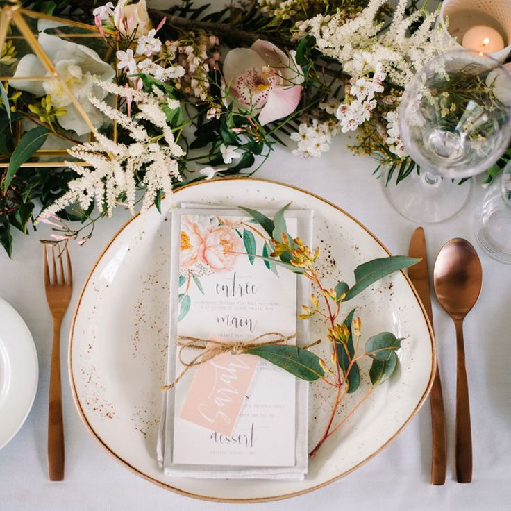 Spring Fl Peach Apricot Wedding Menus Gum Leaves Eucalyptus Australian Peonies Calligraphy Twine Pink Place Cards