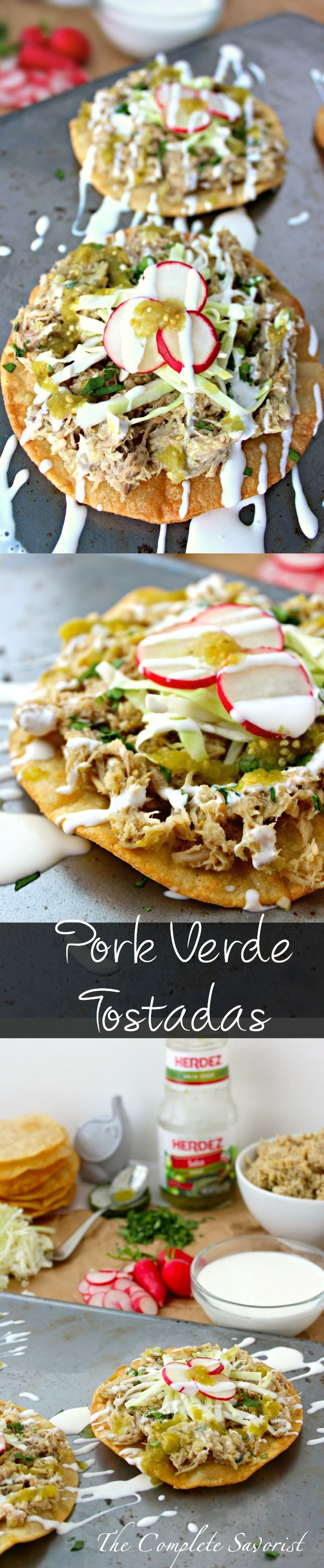 Pork Verde Tostadas ~ Slow cooked pork then quickly fried up carnitas-style, served on a crisp corn tortilla and topped with with cabbage, radishes, crema, and salsa verde