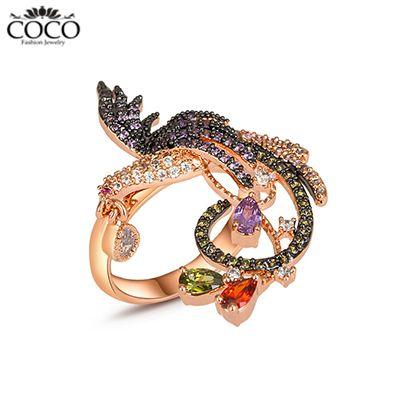 Retro vogel vinger ringen zirkonia dier ring voor vrouwen' s avonds mode bruiloft accessoires merk sieraden 18k(China (Mainland))