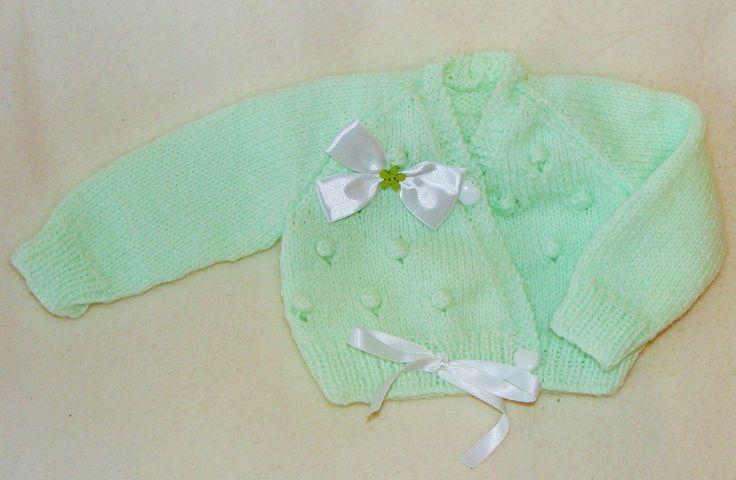 Cache-coeur vert layette taille bébé naissance : Mode Bébé par danielainetricots