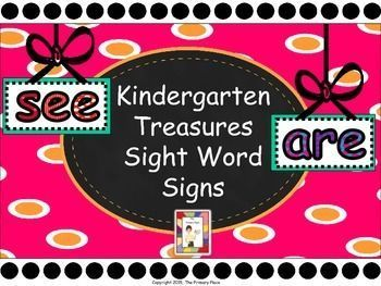 These Kindergarten Treasures Sight Word Signs created by The Primary Place can be used in a variety of ways.  Just print on cardstock and laminate.  You can tie them to ribbons and hang from the ceiling, post them on the wall, use them as giant flashcards
