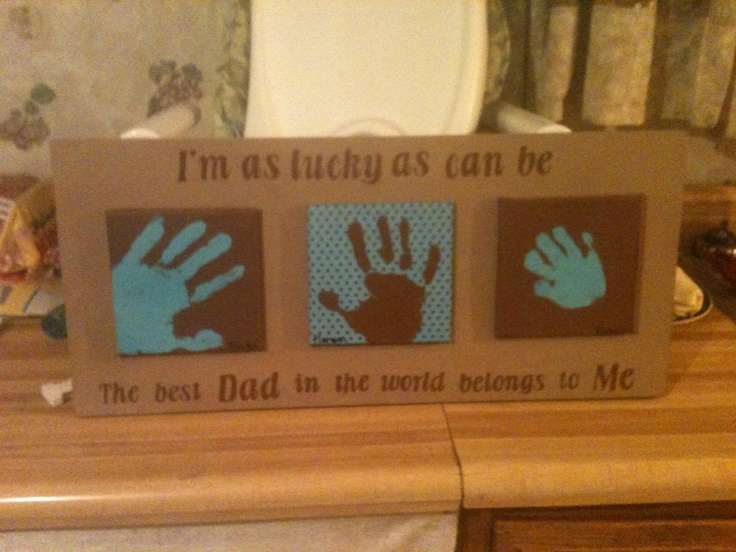 Me and my sister in law made this for my hubby for his birthday present from the kids
