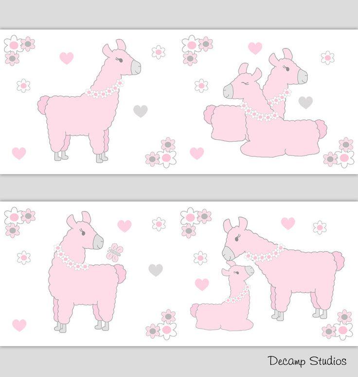 Llama Baby Nursery Girl Pink Gray Wallpaper Border Wall