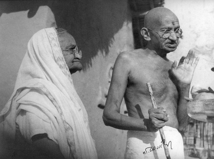 Gandhi with his wife Kasturba at Sevagram Ashram, Maharashtra, in January 1942.