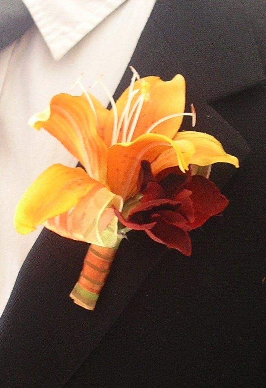 Wedding Boutonnieres Fall Wedding Boutonniere Summer Orange Wedding Bouotonniere Silk