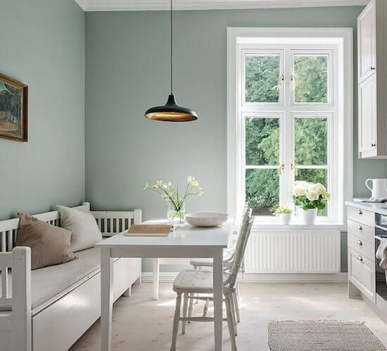 Pale Green and White Dining Room Colour Scheme - Scandinavian Interiors