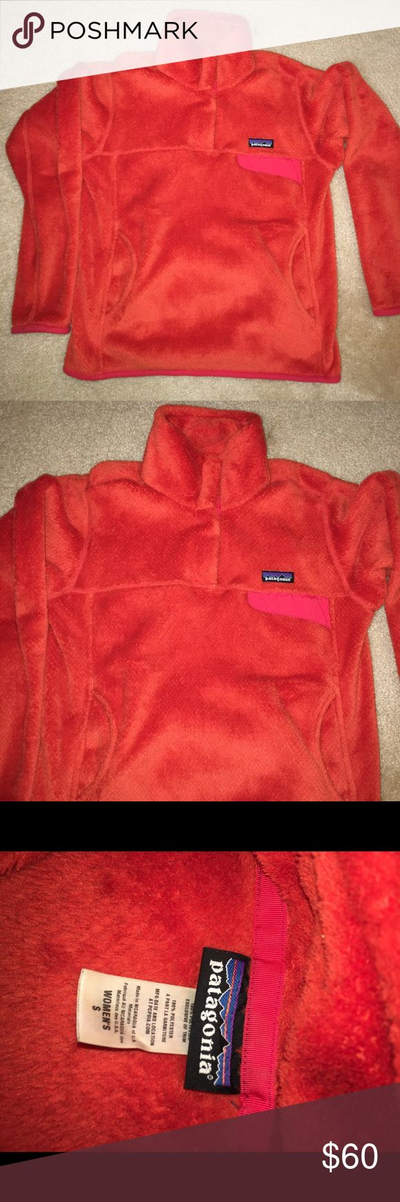 Women's Patagonia Re-Tool Snap-T Fleece Pullover Pullover color is Carve Coral-Spiced, size small. Has only been worn a few times and is in great condition! Patagonia Jackets & Coats