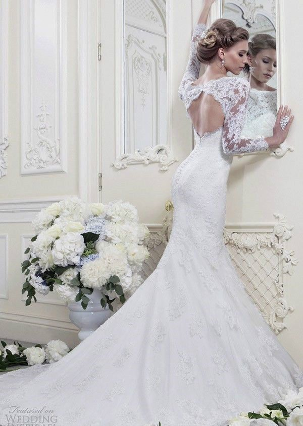New Lace Wedding Dresses Keyhole Bridal Gowns Custom Size 2 4 6 8 10 12 14 16 18