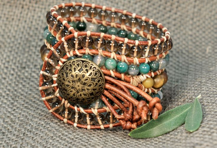 5 strand Statement Wrap Bracelet. Tiger Eye, Agate Indian & Smoked Quartz. Boho Style. Bohemian Jewelry. Semiprecious stones. Gift for her. Unique Design.