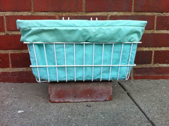 Turquoise Gingham Bicycle Basket Liner with by WellTemperedDesigns, $30.00