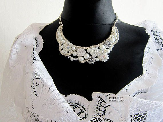 White Statement Necklace Swarovski Pearls Swarovski Wedding