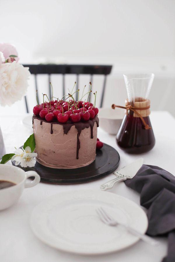 mocha chocolate cake with cherries