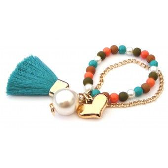 Pulsera con Perlas, Cadena de Aluminio, Motita y Dije de Corazón