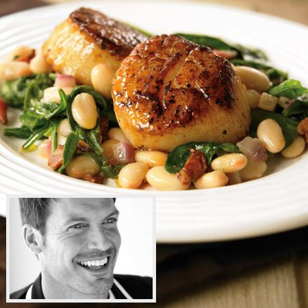 Guy-approved romantic meal: fresh sea scallops with white beans and bacon