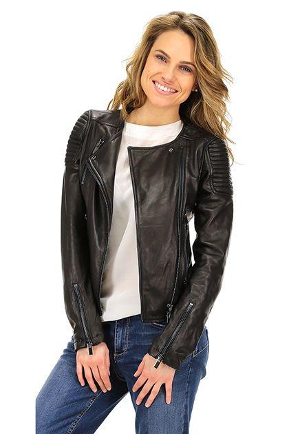 Vintage De Luxe - Giacche - Abbigliamento - Giacca in pelle con zip di chiusura e doppio petto. tasche alterali con chiusura a zip.La nostra modella indossa la taglia /EU 40. - NERO - € 348.36
