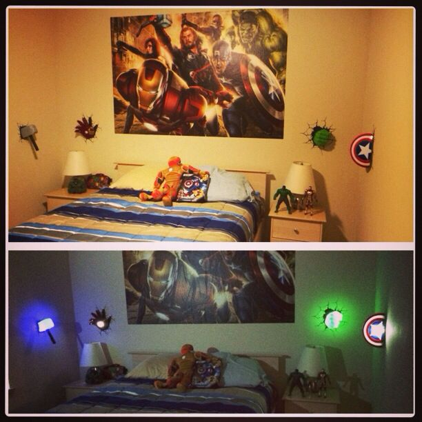 Avengers themed room   •Avengers fathead •Avengers night lights found at target • Iron man pillow • Avengers action figures