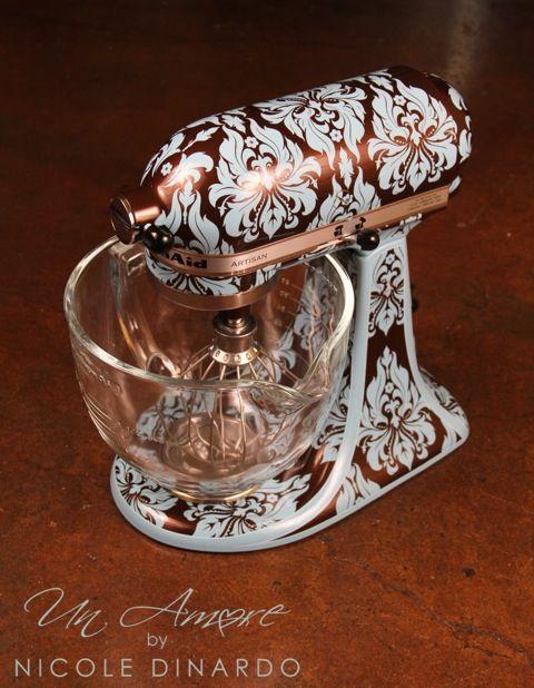 Damask cocoa pearl and robins egg blue custom KitchenAid Mixer by Nicole Dinardo