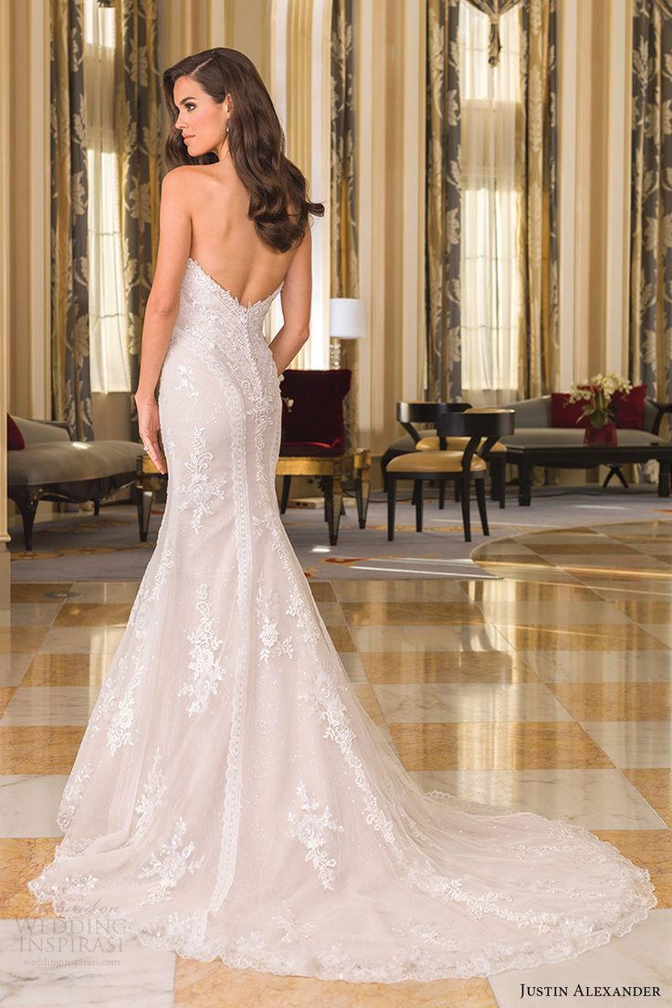 justin alexander bridal fall 2016 strapless sweetheart fit flare wedding dress (8862) bv lowback train