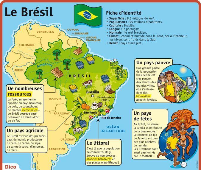 Carte Identite Bresil.Epingle Sur Fiches Pedagogiques