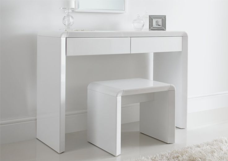 Ice High Gloss Dressing Table Only - White - Dressing Tables - Furniture