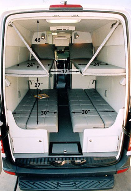 dodge sprinter van bunk beds | Sleep four with dinette made into twin beds and two hinged upper bunks ...