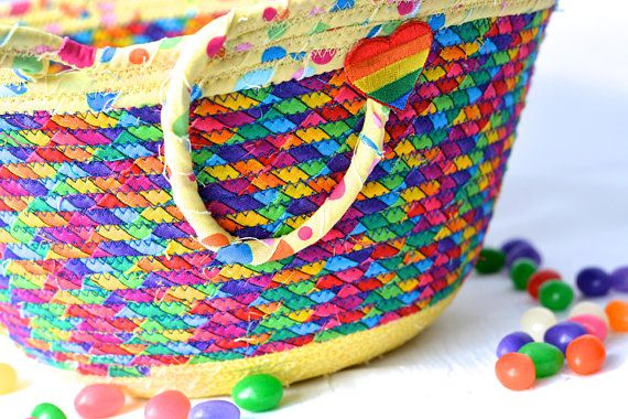 Rainbow Easter Basket, Handmade Kid's Basket, Artisan Quilted Bowl, Easter Decoration, Artisan Quilted Organizer, Boy Easter Bucket     Artisan Flower Girl Basket #wexfordtreasures #Easter #basket #bowl #bucket #decoration #Easter #egg #hunt #gift #decorative #handmade #home #decor #etsyshop #artisan #coiled #boy #girl #quilted #fabric #cotton #rope