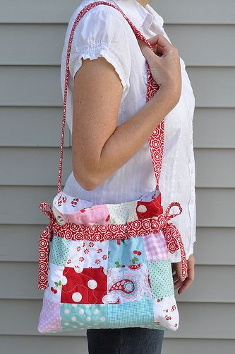 Cute patchwork drawstring bag