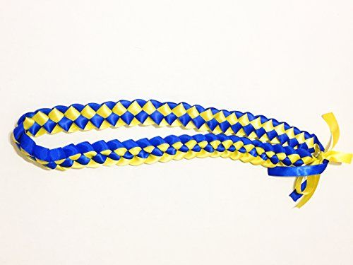 Ribbon Lei - Braided Necklace - Royal Blue & Yellow by A Tangible Thought:   For celebrations, special events, party favors;Soft satin, vibrant color;Approximately 20 inches long when worn;Logo placement will be branded on bow area