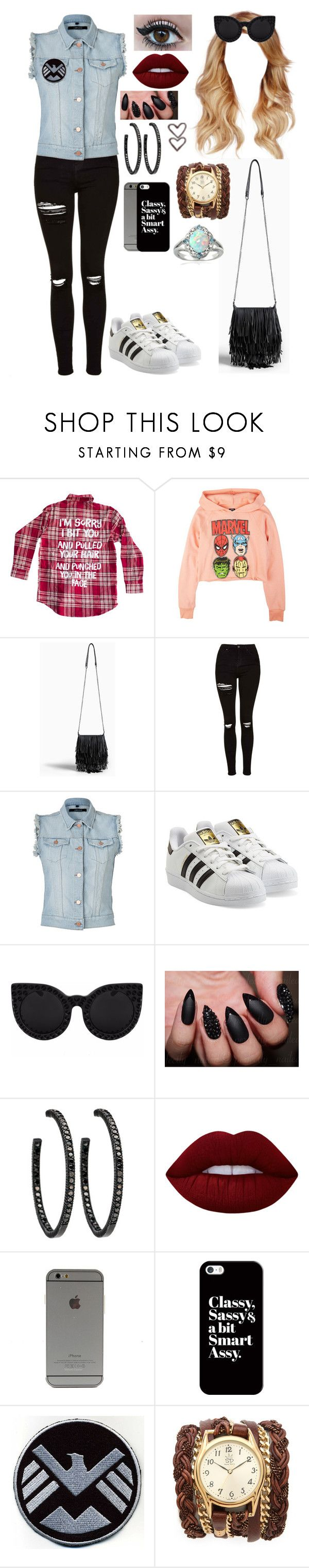 """Untitled #610"" by skh-siera18 ❤ liked on Polyvore featuring Torrid, Topshop, J Brand, adidas Originals, Delalle, Lime Crime, Casetify, Sara Designs and Glitzy Rocks"