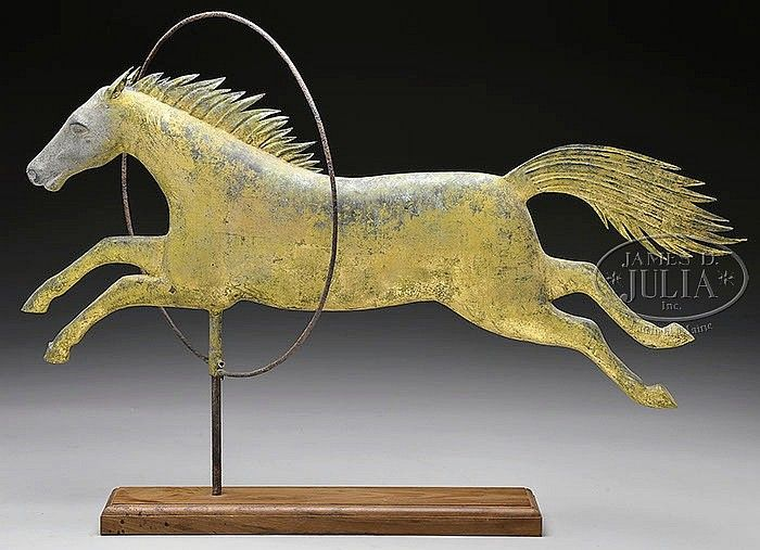 RARE CIRCUS HORSE AND HOOP COPPER WEATHERVANE. - by James D. Julia