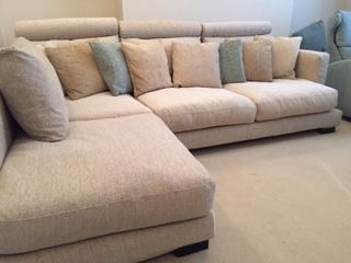 This Feather Filled Zinnia Sectional Is Deep And Large, Measuring 205 Cm X  272 Cm And Has Three Headrests Added To Increase The Back Cushion ...