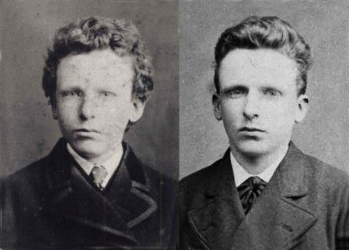 The brothers - Vincent and Theo Van Gogh as young men. Theo, who is one of unquestioned saints of the art world, completely supported Vincent financially for about the last five or six years of his life. In exchange, Vincent sent him his paintings, which he was firmly convinced would have value some day, despite the fact that they didn't sell at all, despite Theo's efforts.