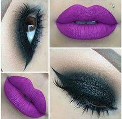 Labios morado mate ojos oscuros maquillaje pinterest for Labios granates mate