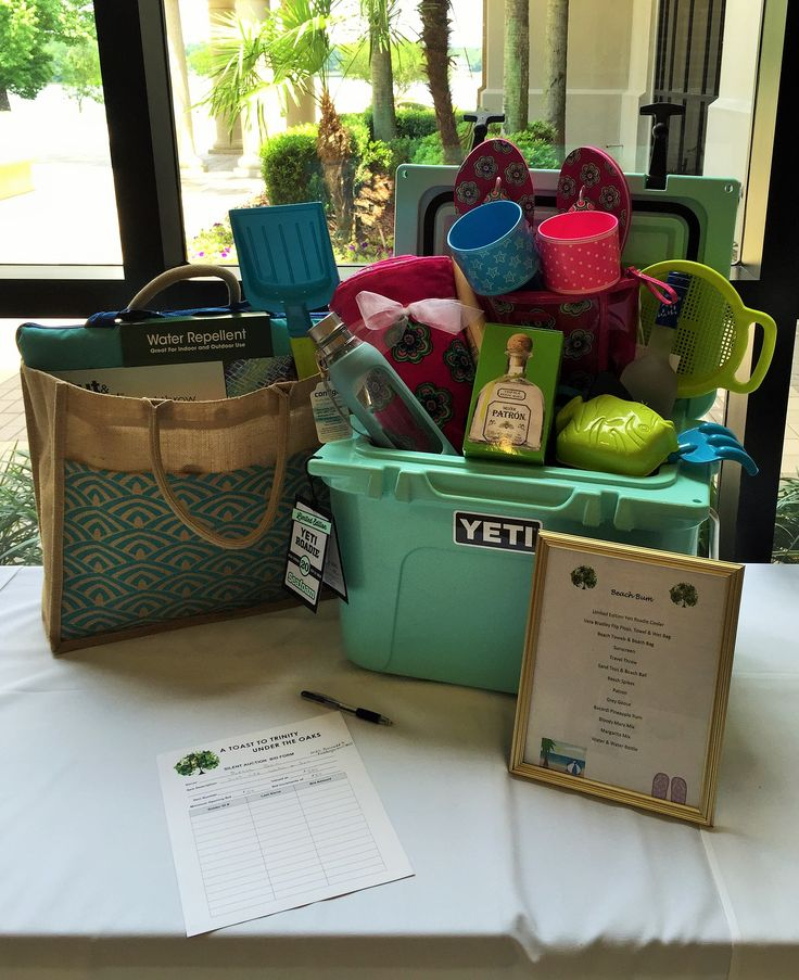 "Silent Auction Class ""Basket"" Beach Themed. Vera Bradley Flip Flops and gear, Patron, Yeti Cooler, lots of other beach themed gear."