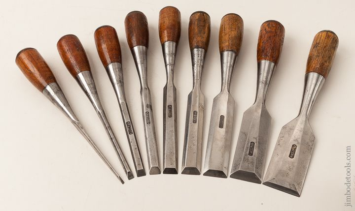 Complete STANLEY No. 220 EVERLASTING Chisel Set -- Complete Set of Nine No. 50 Chisels From 1/8 to 1 1/2 inch!  SWEETHEA