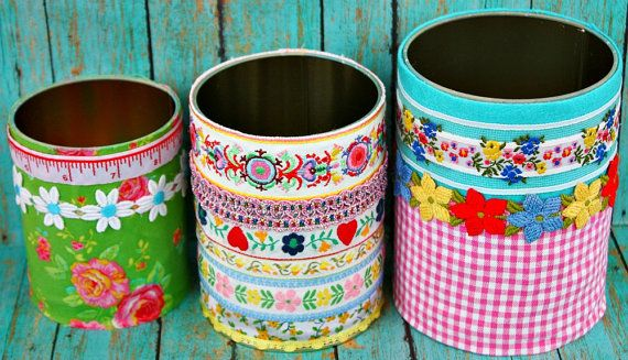 Trio of Upcycled Storage Tins by LemonTreeStudio on Etsy, $22.00