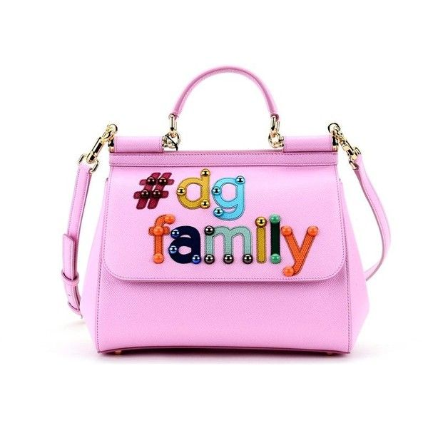 Pink Dg Family Sicily Handbag ($1,202) ❤ liked on Polyvore featuring bags, handbags, shoulder bags, rosa chiaro, womenbags, pink shoulder handbags, purse shoulder bag, pink handbags, pink leather handbags and leather hand bags