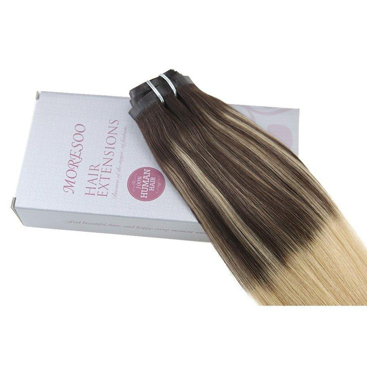 120g PU Clip In Hair Extensions Brazilian Hair Balayage #3 Brown and #24 Blonde(#BA3/24