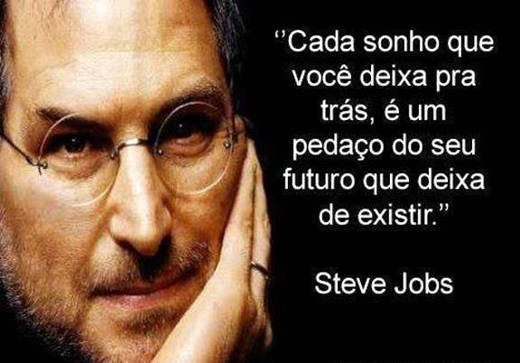 Cada sonho que você deixa pra trás, é um pedaço do seu futuro que deixa de existir. - Steve Jobs (Frases para Face)