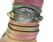 Om Hamsa Yoga Bracelet Bohemian Wrap Silk Bracelet by HVart